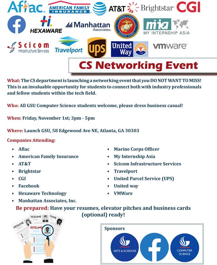 CS Networking Event-Friday November 1st 2019